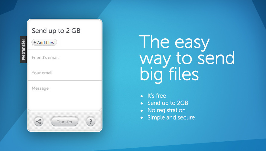 Wetransfer send large files via email