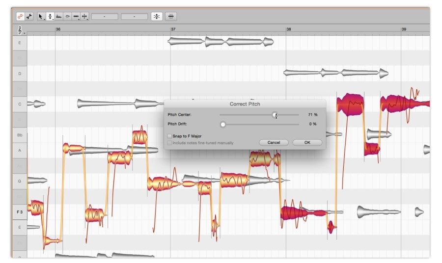 Melodyne 4 studio multitrack note editing